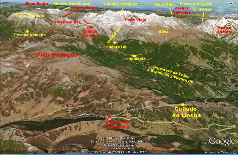 Mapa foto panorámica desde el Collado de Llesba, Cantabria, España
