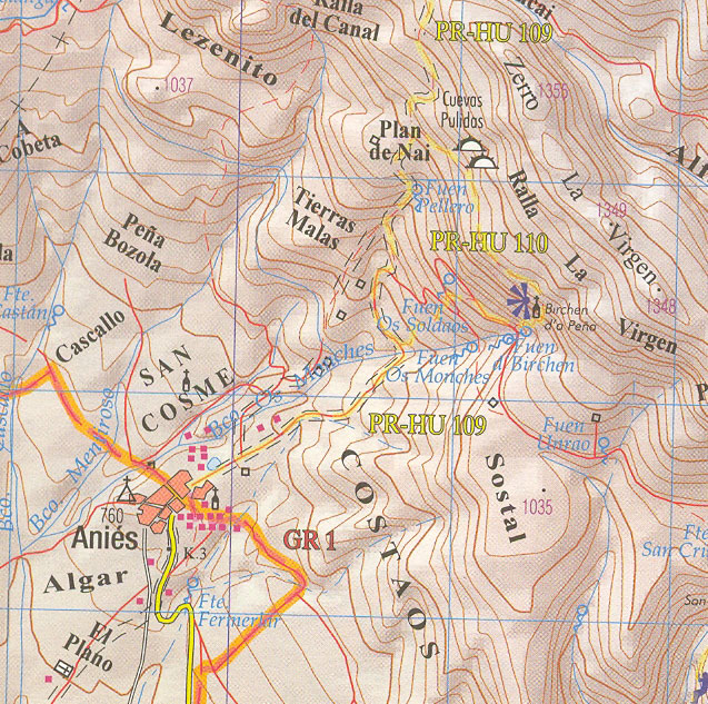 Mapa situación de Anies en cuyas proximidades esta la ermita de la Virgen de la Peña, Pre Pirineos, Huesca, Aragon, España