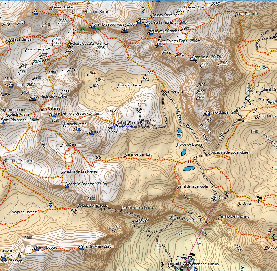 Mapa Refugio de Cabaña Verónica en el Macizo Central de Picos de Europa, Parque Nacional, Teleférico de Fuente Dé, Cantabria