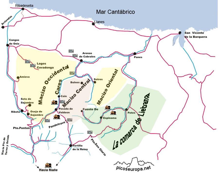 mapa dos picos da europa espanha Pueblos y lugares de interes de Picos de Europa, España mapa dos picos da europa espanha